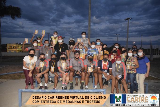 Desafio Carireense Virtual de Ciclismo 2021 premia atletas com medalhas e troféus