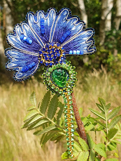Cornflower embroidery brooch