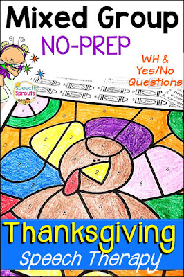 Thanksgiving preschool picture books and great ideas for turkey week! Go no-prep with activities like this color by number page. Thanksgiving speech therapy activities for those tricky mixed groups. Includes Thanksgiving wh question and Yes-No question Quick Lists.  #speechsprouts #speechtherapy #slp  #sped #preschool #kindergarten #Thanksgiving