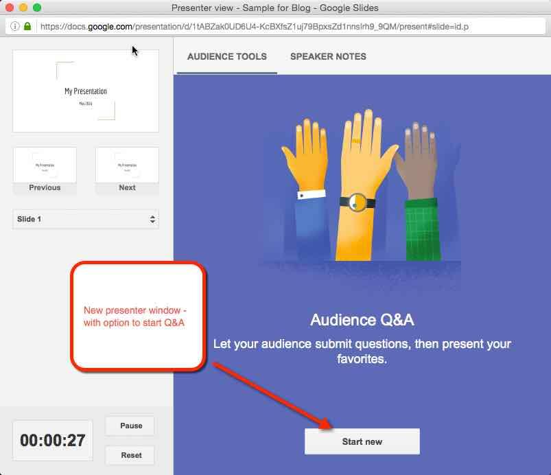 google slides built in back channel