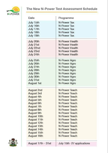 2017 N-Power New Test and Assessment Timetable