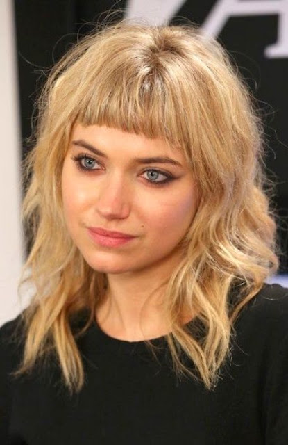 Medium Length Hairstyle and Haircuts For Women - Short bangs Medium Length Hairstyle