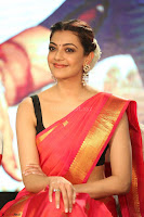 Kajal Aggarwal in Red Saree Sleeveless Black Blouse Choli at Santosham awards 2017 curtain raiser press meet 02.08.2017 036.JPG