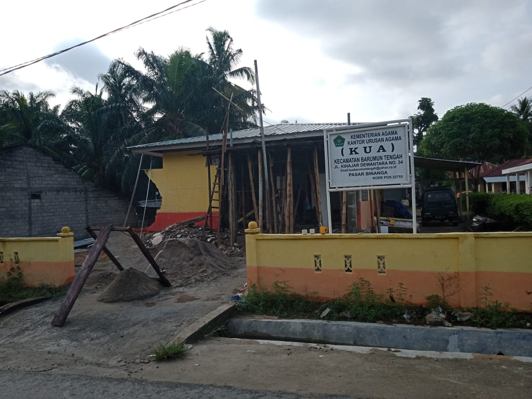 Renovasi Kantor Urusan Agama Barumun Tengah Tanpa Plang Proyek