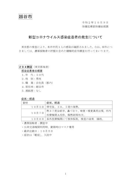 新型コロナウイルス感染症患者の発生について(10月9日発表)