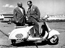D'Ascanio (left) and Piaggio with the machine that made both their names
