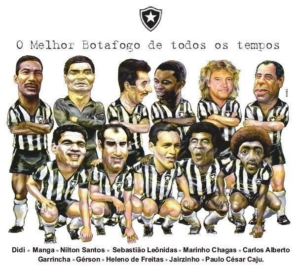 """""""Apenas"""" 7 campeões mundiais pelo Brasil no """"melhor Botafogo de todos os tempos"""".   Quem tiver mais que apresente...   E ainda ficaram de fora os campeões mundiais Zagalo e Amarildo,além do Quarentinha, maior artilheiro da História do Glorioso.  É por coisas assim que este Barão de General Severiano diz que o Botafogo não é para os óbvios!"""