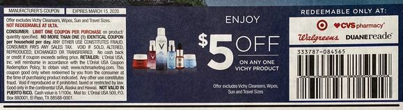 "$5.00/1 Vichy item (limit-1)Coupon from ""RMN"" insert week of 3/1/20."