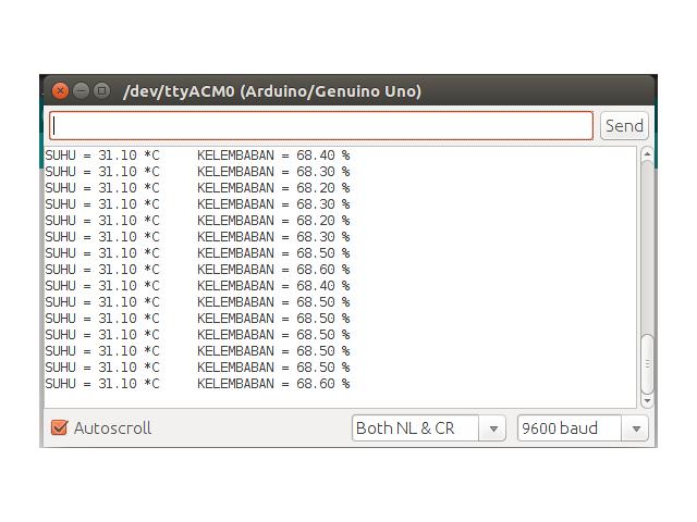Serial Monitor DHT 22 dan Arduino