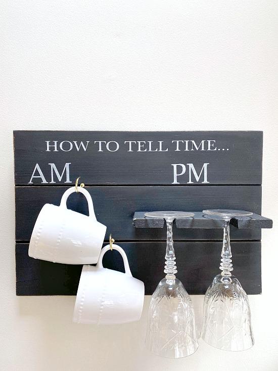 Pallet wood mug and glass holder sign
