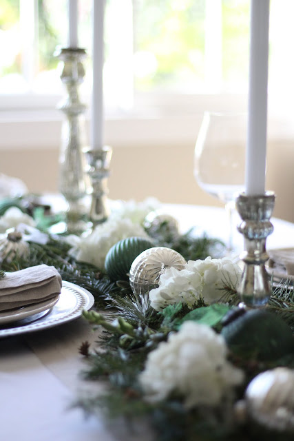 holiday tablescape greens silver white elegant gorgeous