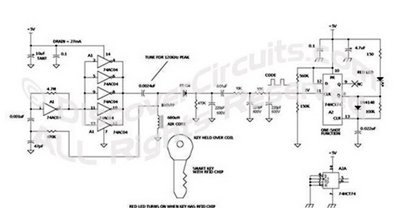 Wiring Diagram 125KHz Wireless Smart Key Detector for Car