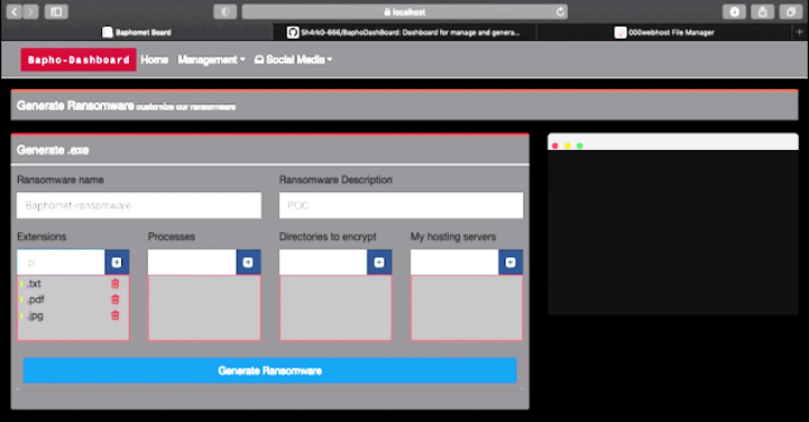 BaphoDashBoard : Dashboard For Manage & Generate The Baphomet Ransomware