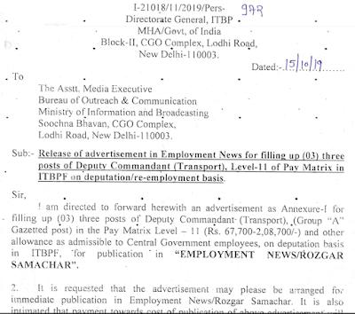 ITBP inspector recruitment