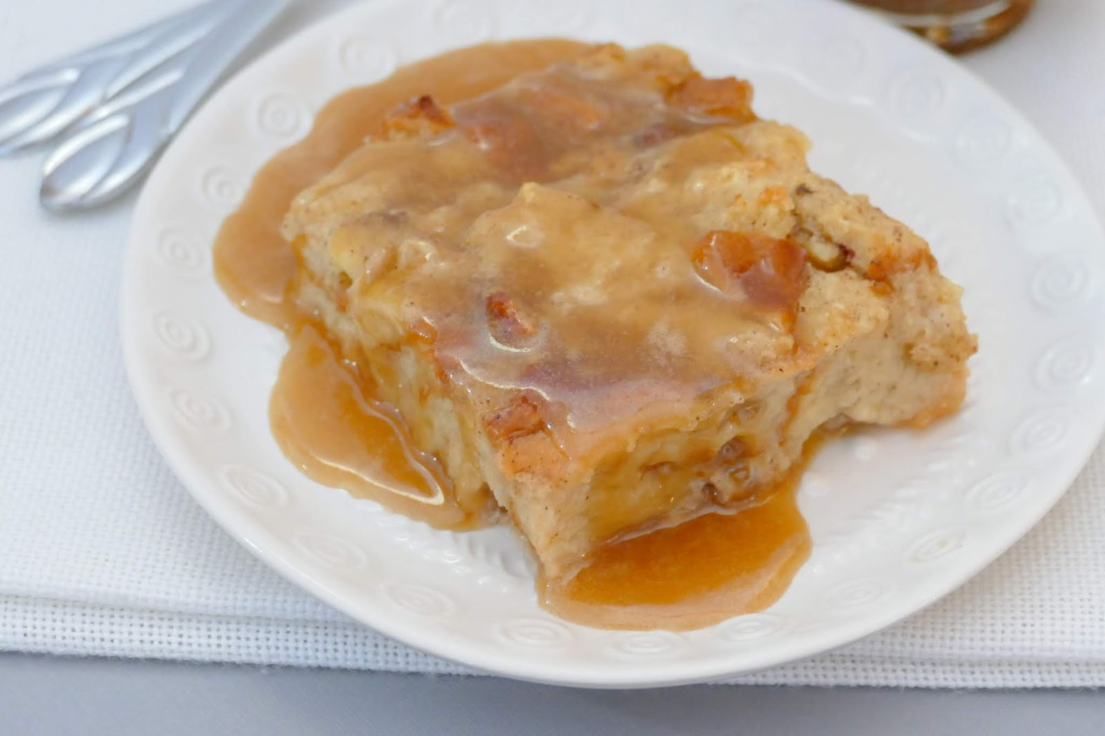 This heavenly dessert is such a great way to use ripe bananas and day old Hawaiian buns! Drizzle caramel sauce over the top for an easy and decadent dessert for any occasion! Double the recipe for a bigger crowd! Great for breakfast or brunch too!