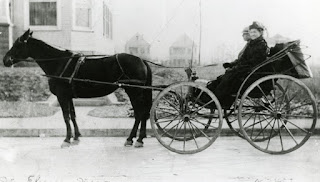 Photo of horse-drawn carriage. An elderly woman wearing a winter coat sits in the carriage next to a male driver.