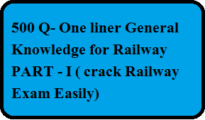 [One Liner Gk] 500 Most Important General Knowledge Mcq 2019 Railway-Part 1