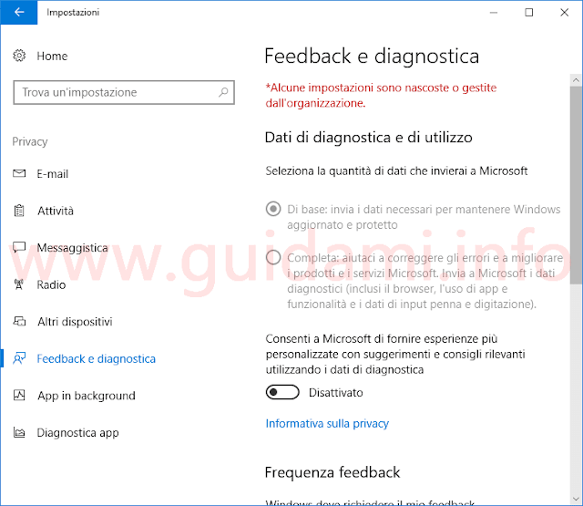 Impostazioni Feedback e diagnostica Windows 10 Creators Update