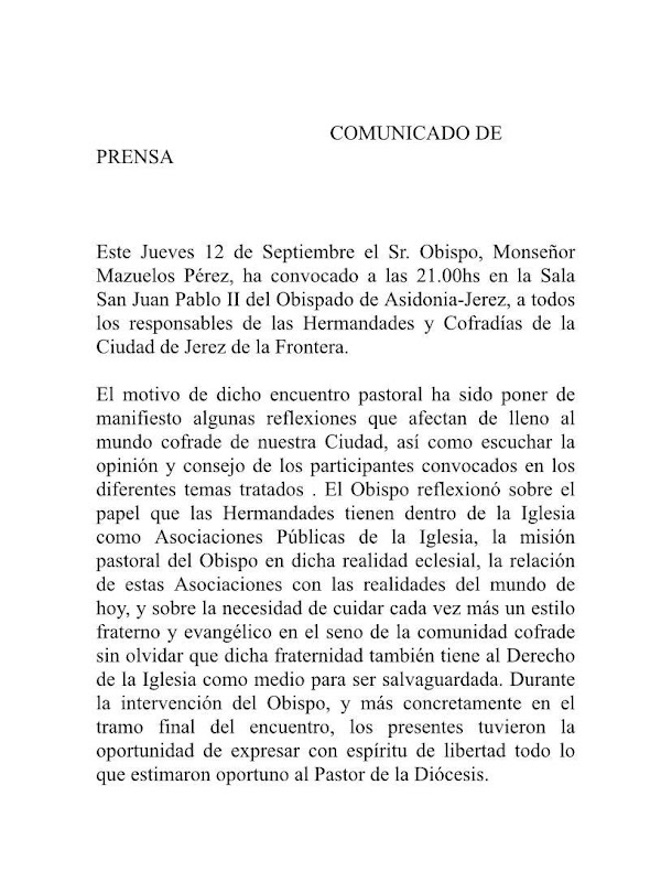Comunica de Prensa del Señor Obispo de Jerez de la Frontera