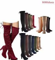 Women's Pull Up Almond Toe Over The Knee Flat High Heel Boots