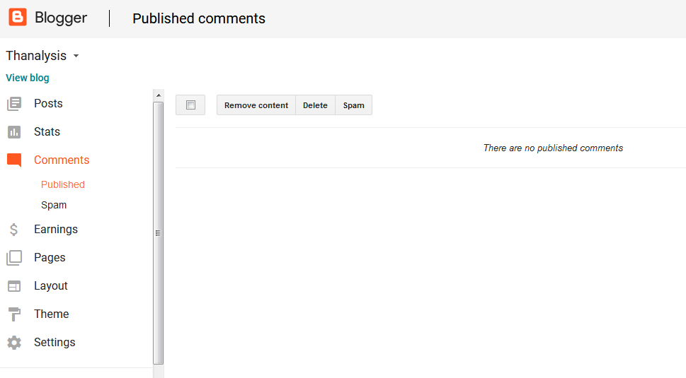 Comments tab of Google Blogger - Thanalysis