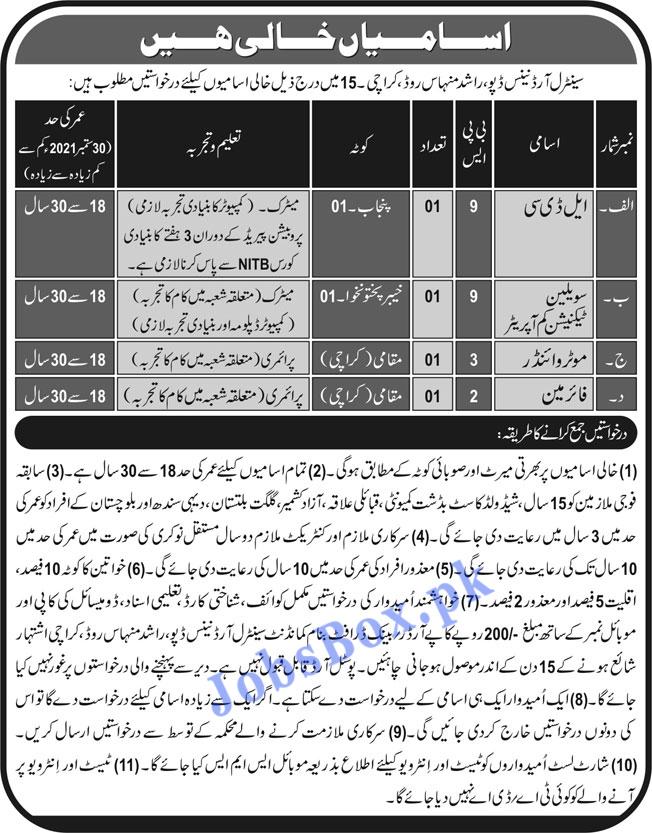 Pak Army Central Ordnance Depot COD Karachi Jobs 2021