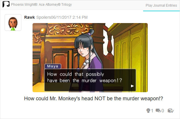 Maya Fey Murder Weapon Mr. Monkey Head Phoenix Wright Ace Attorney Trilogy 3DS Miiverse Capcom Nintendo