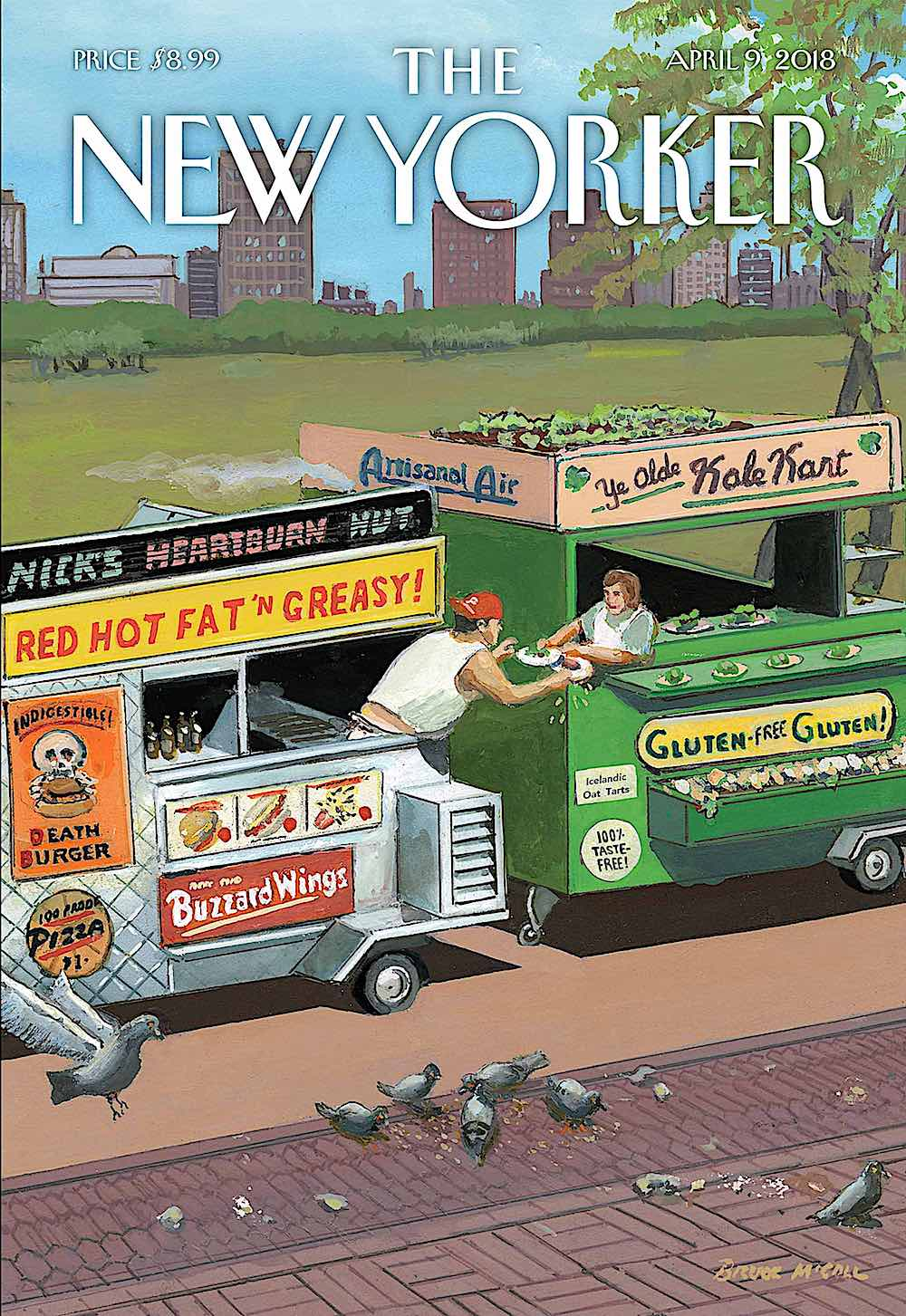 a Bruce McCall illustration for the New Yorker Magazine April 2018, two food vendors exchanging lunches