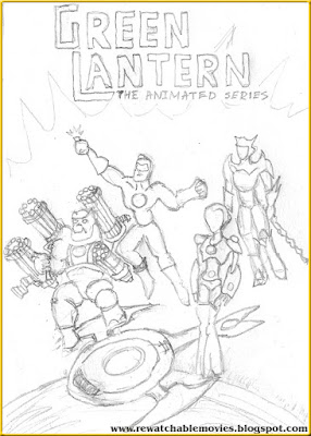 Green Lantern The Animated Series hand pencil sketch poster