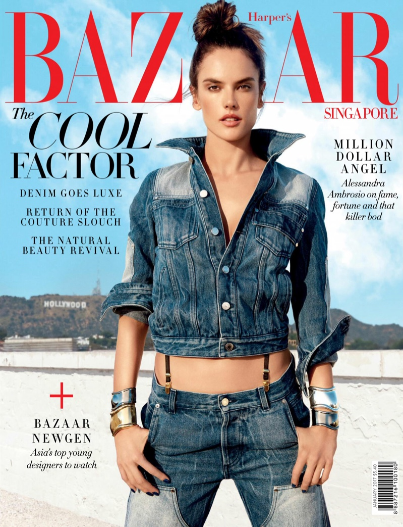 Alessandra Ambrosio wears denim ensembles for Harper's Bazaar Singapore