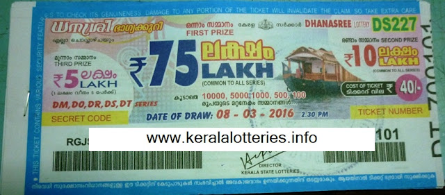 Kerala lottery result of DHANASREE on 08/01/2013