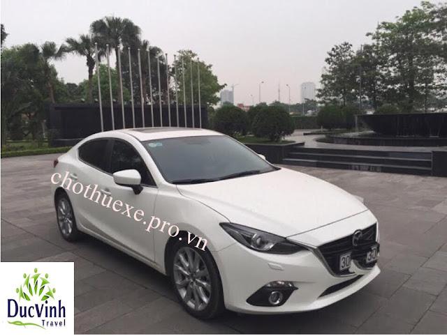 Cho thuê xe du lịch Mazda 3 2016 màu trắng giá rẻ tại hà nội