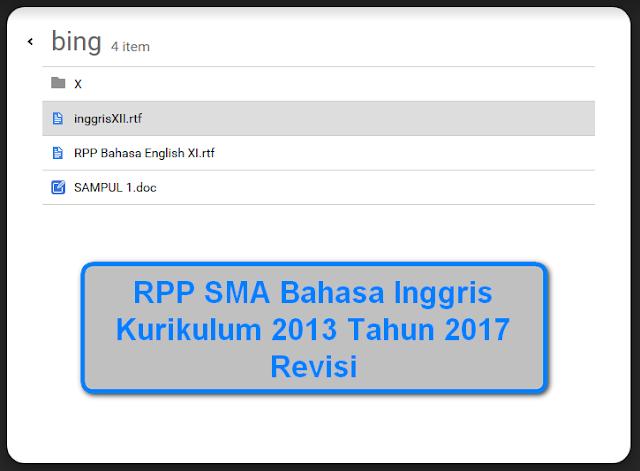 RPP SMA Bahasa Inggris Kurikulum 2013 Tahun 2017 Revisi