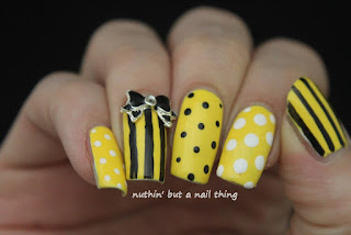 Sunshine yellow stripes and polka dots