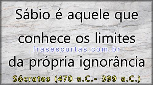 Sábio é aquele que conhece os limites da própria ignorância - Sócrates
