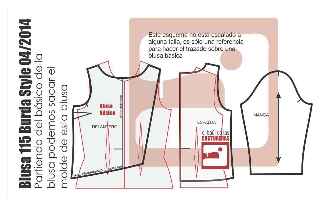 patron costura blusa 115 burda style 07/2014