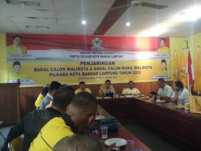 7 Oktober, Golkar Mulai Penjaringan Bakal Calon Walikota Bandarlampung