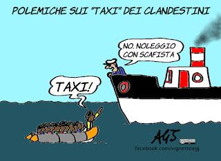 taxi, migranti, clandestini, ong, grillo, vignetta, satira