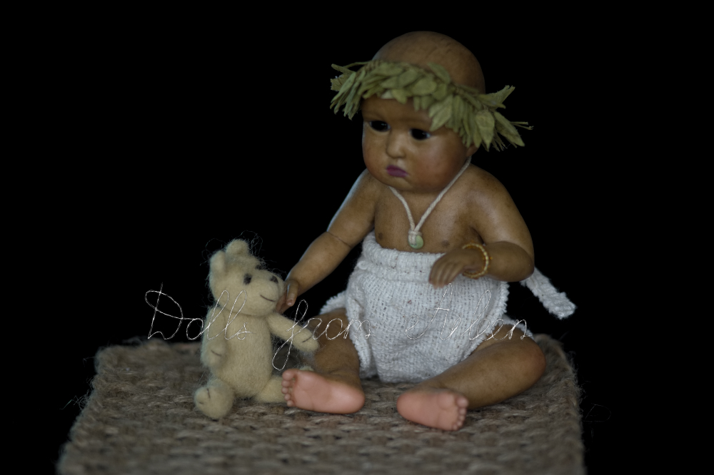 OOAK baby girl doll sitting with her teddy bear