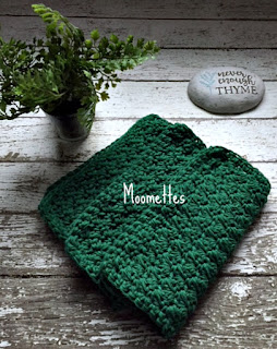 Handmade Dark Green Dish Cloths