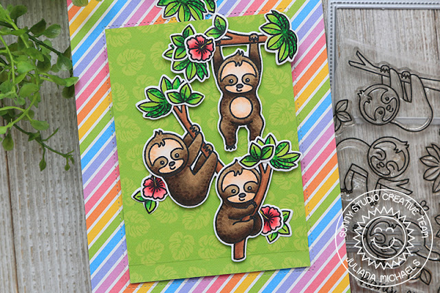 Sunny Studio Stamps: Silly Sloths Sliding Window Dies Staggered Circle Dies Punny Cards by Juliana Michaels and Angelica Conrad