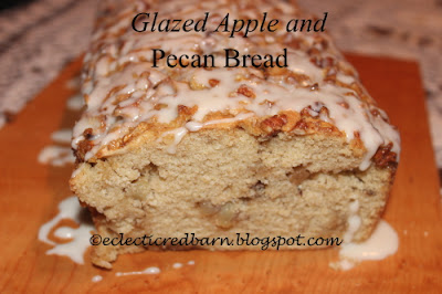 Glazed Apple and Pecan Bread. Share NOW. #dessert #breakfast #breads #apples #pecans #eclecticredbarn