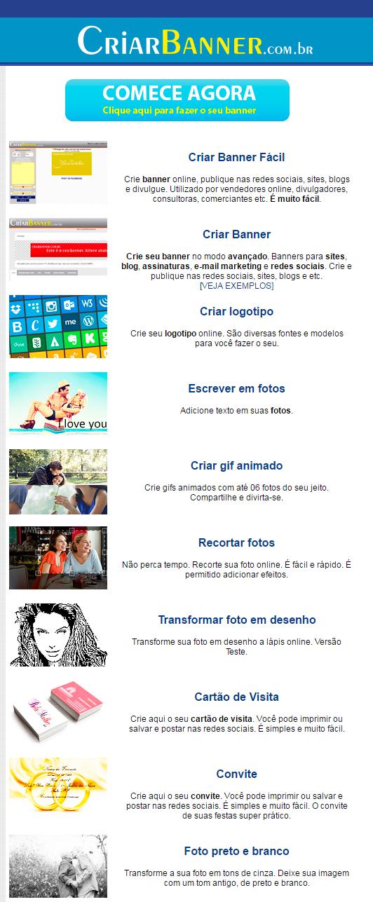 página inicial do site criarbanner