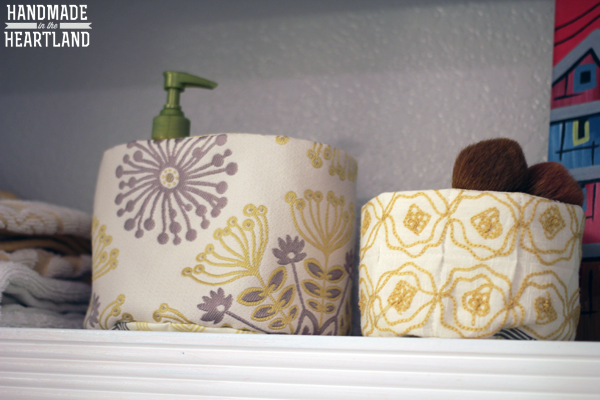 Quilted Fabric Baskets for Bathroom Organization