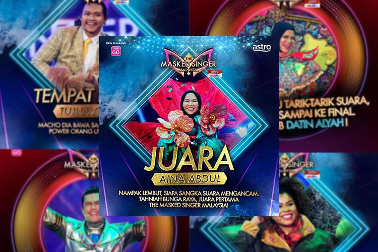 Selepas 8 Minggu, Bunga Raya (Aina Abdul) Dinobat Sebagai Juara The Masked Singer Malaysia