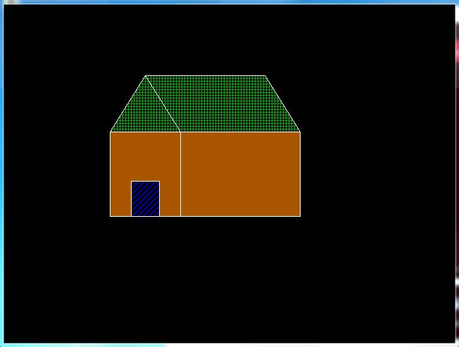 C graphics program to draw a a hut