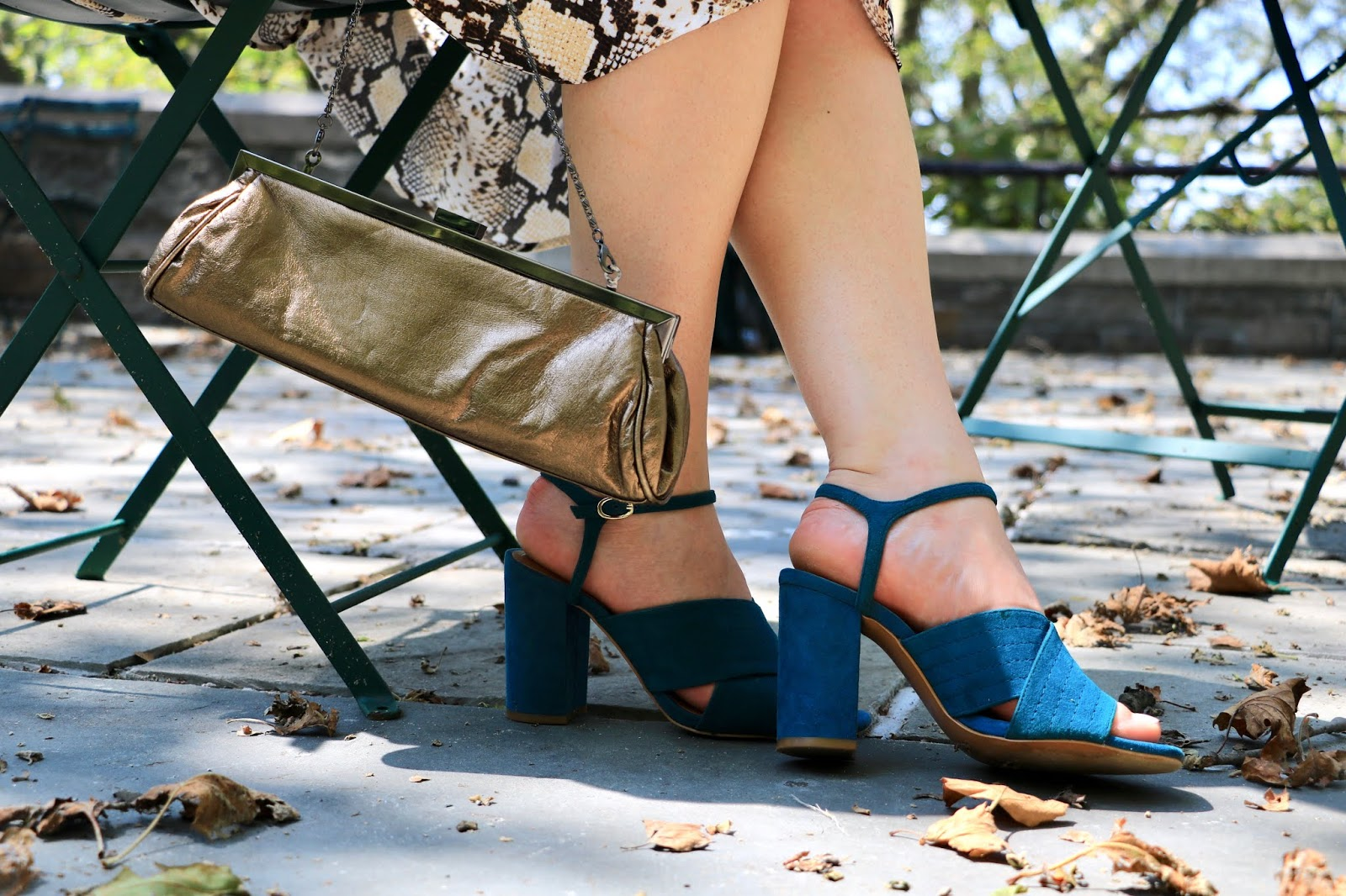 Nyc fashion blogger Kathleen Harper wearing teal heeled sandals from Zara.