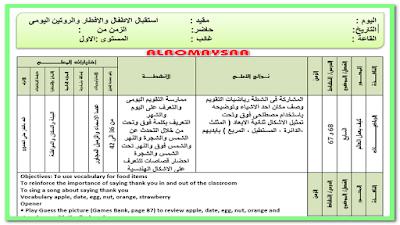 تحضير المستوى الاول خطة 3 ايام من السبت 20 مارس الى الخميس 25 مارس
