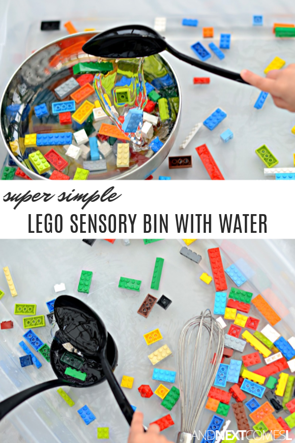 LEGO sensory soup: an easy LEGO sensory bin with water