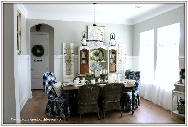 French Country-Farmhouse-Dining Room-Mia Chandelier-Pottery Barn-Blue & White-French Farmhouse-From My Front Porch To Yours